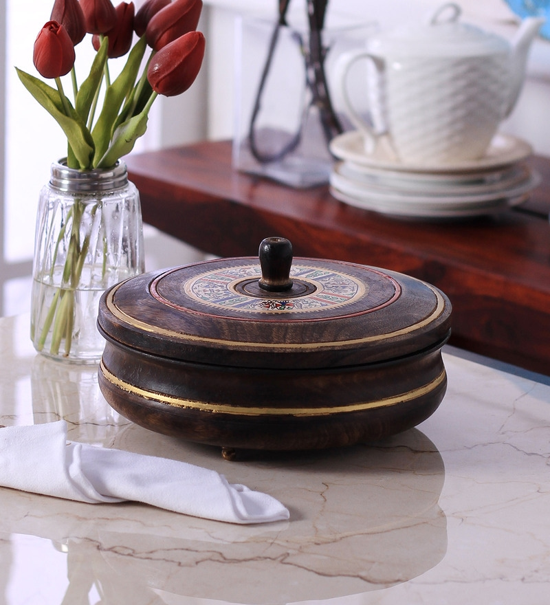 Vareesha Hand Painted Brown Wooden 1 L Casserole