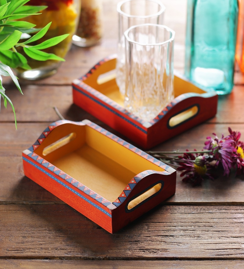 VarEesha Hand Painted Orange & Yellow MDF Trays - Set of 2