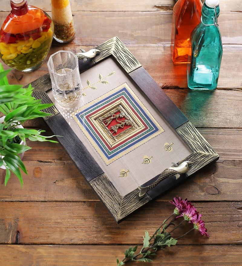 VarEesha Handcrafted Dhokra Work Acrylic & Glass Silk Base Tray