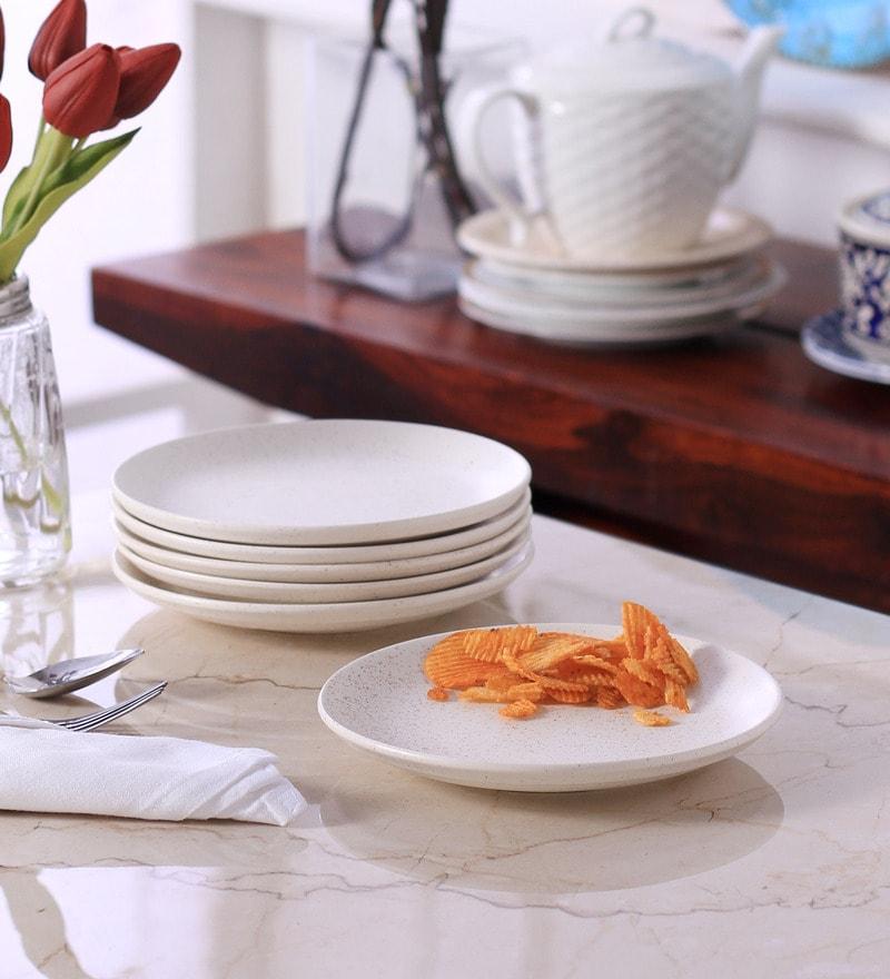 VarEesha Marble Matt White Ceramic Quarter Plate - Set of 6