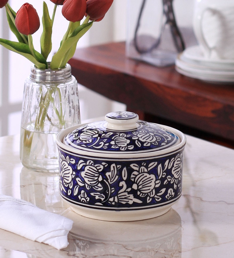 Buy Vareesha Hand Made Blue Ceramic Serving Bowl With Lid Set Of 3