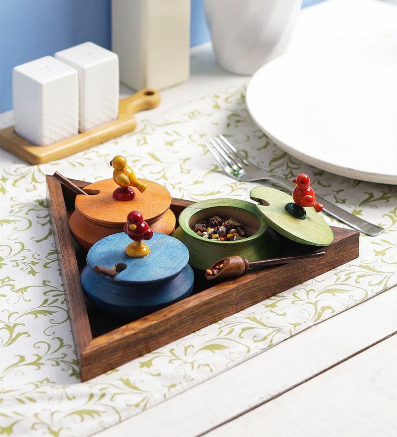 VarEesha Multicolored Wooden Handis with Triangle Tray Mukhwas - Set of 7