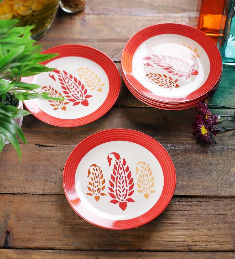 VarEesha Paisley Red Ceramic Quarter Plates - Set of 6