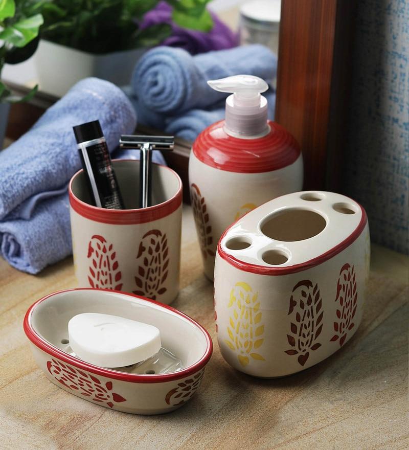 VarEesha Red Ceramic Paisley Bathroom Accessories Set - Set of 4