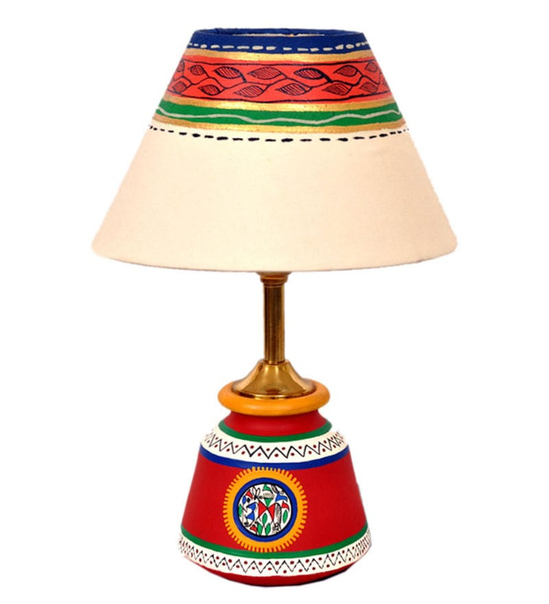 Multicolour Fabric Table Lamp by VarEesha
