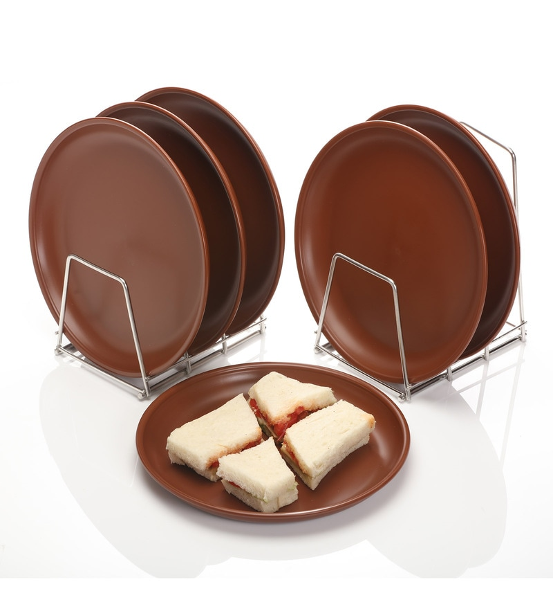 Varmora Round Brown Dinner Plates - Set of 6