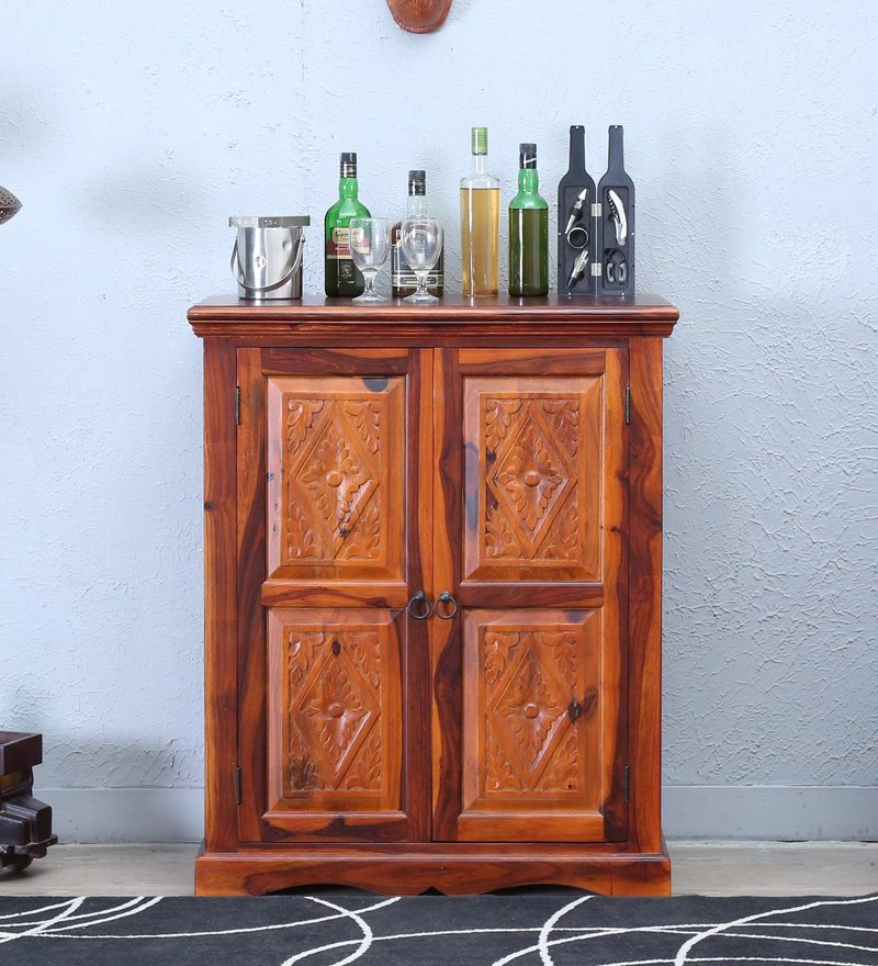 Vayaka Bar Cabinet in Honey Oak Finish by Mudramark