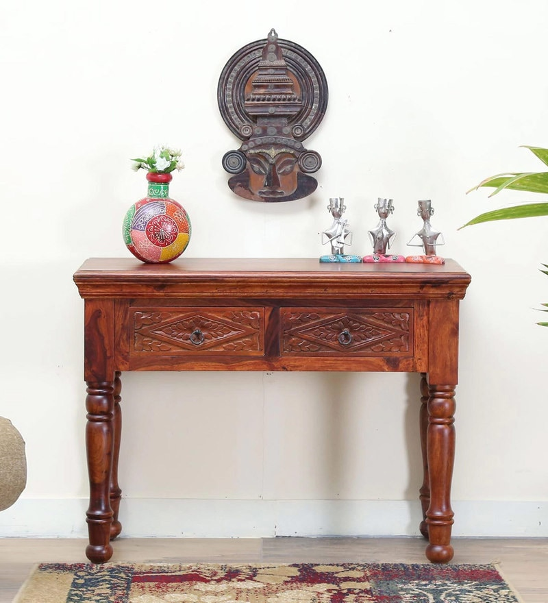 Vayaka Console Table in Honey Oak Finish by Mudramark