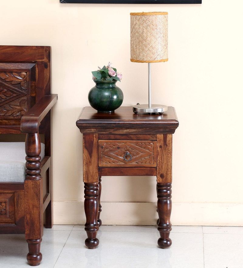Vayaka End Table in Provincial Teak Finish by Mudramark
