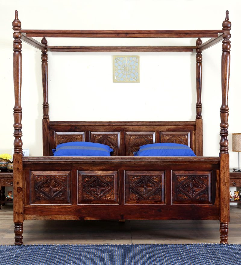 Vayaka Poster Size Bed in Provincial Teak Finish by Mudramark