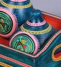 VarEesha Blue Cylindrical 30 ML Hand Painted Warli Salt N Pepper Sprinklers with Tray