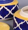 VarEesha Blue Cylindrical 300 ML Handmade Jar - Set of 2