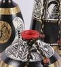 VarEesha Madhubani Black, Gold and White Terracotta 3-piece Pot Set