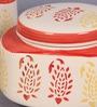 VarEesha Paisley Red & White Cylindrical 250 ML Handcrafted Jar - Set of 2