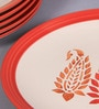 VarEesha Paisley Red Ceramic Full Plate - Set of 6