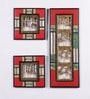 Red & Gold Mango Wood & Metal Dhokra Wall Hanging Set - Set of 3 by VarEesha