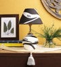White & Black Fabric Table Lamp by VarEesha