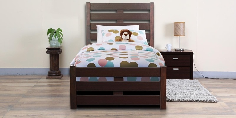 Venus Single Bed with High Headboard in Brown Colour by Mintwud