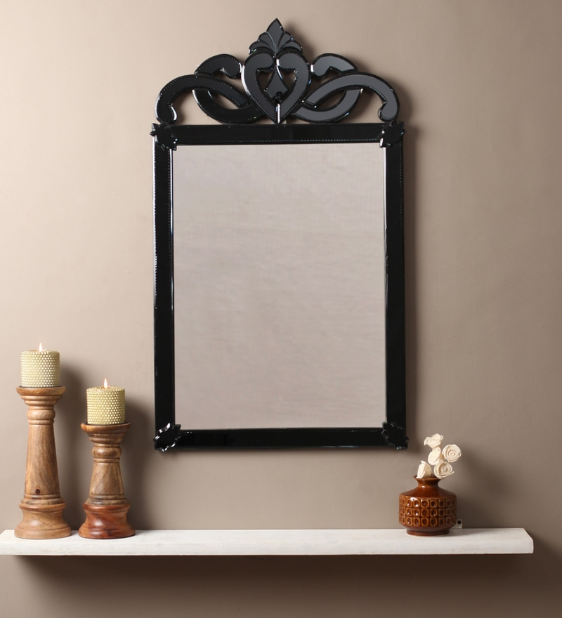 Venetian Design Black Glass & MDF Rectangular Decorative Mirror