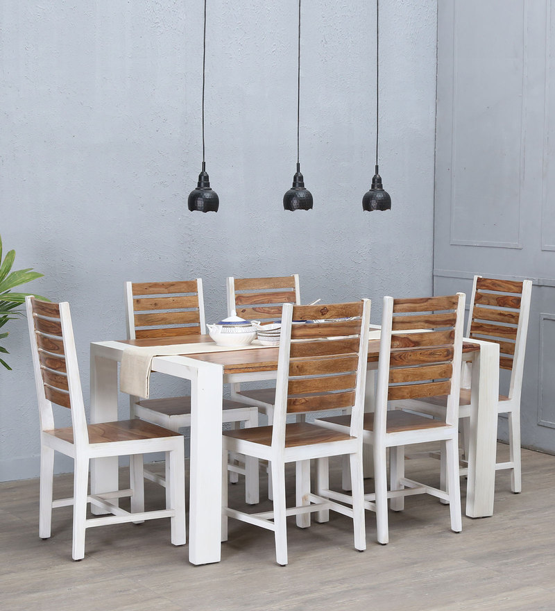 Verona Solid Wood Six Seater Dining Set In Distress Finish By Bohemiana