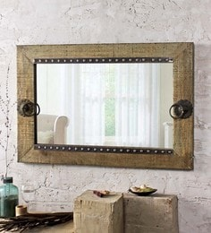 Vintage Green Solid Wood & Glass Olivian Green Mirror