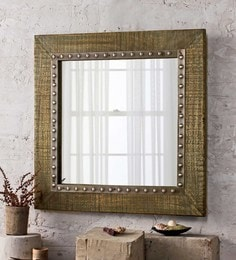 Vintage Green Solid Wood & Glass Olivian Turk Large Mirror