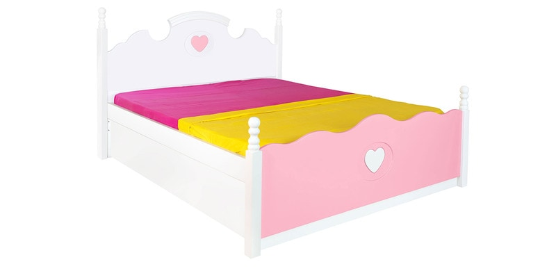 Victoria Kids Queen Size Bed in Pink & White Colour by Alex Daisy