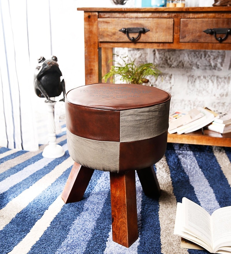 Hadise Stool in Brown & Grey Colour by Bohemiana