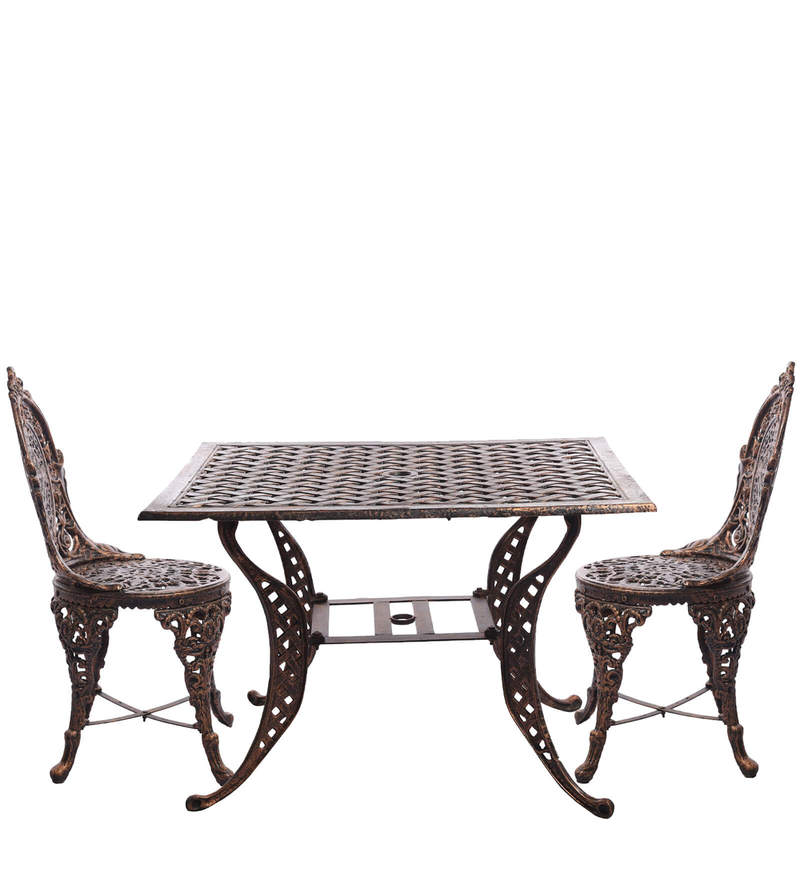Victorian Style Antique Copper Cast Aluminium Square  Table and 2 Chair by Karara Mujassme