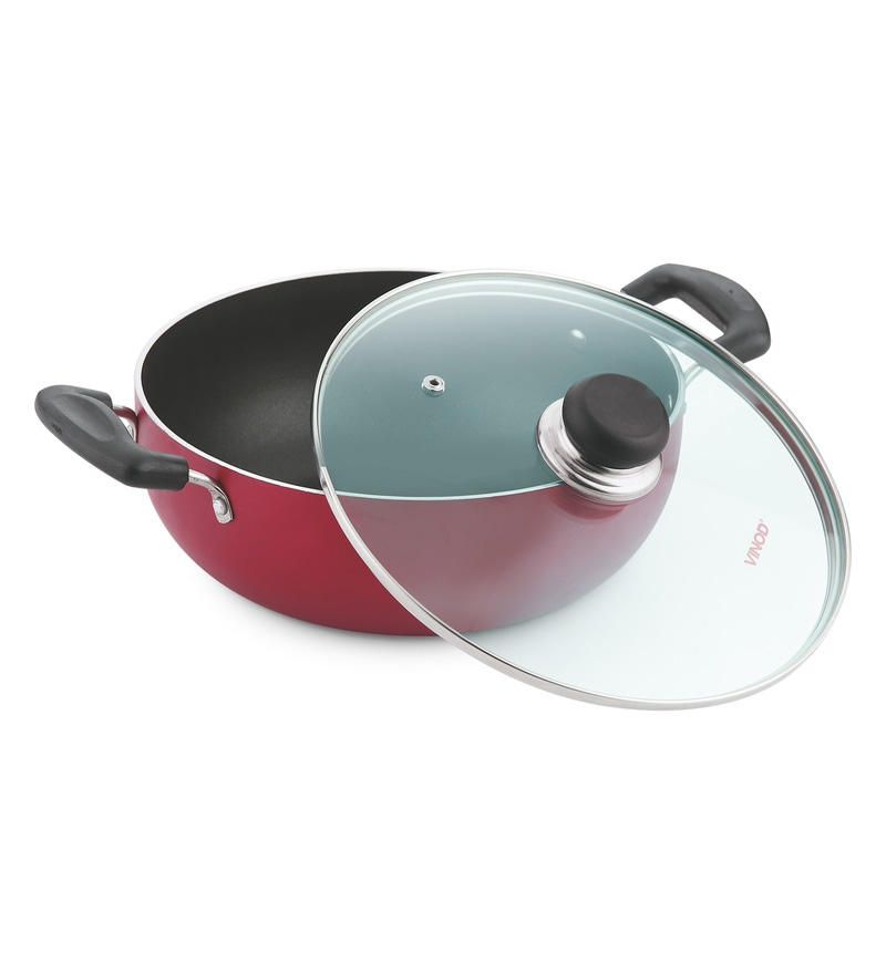 Stainless Steel Non- Stick Induction Friendly Deep Kadai with Lid by Vinod Cookware