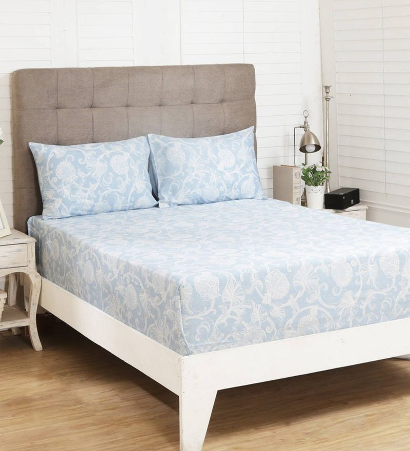 31d8e9cff860 Vintage 400 TC Muted Migration Opulent Print Blue King Size Bed Sheet with 2  Pillow Covers