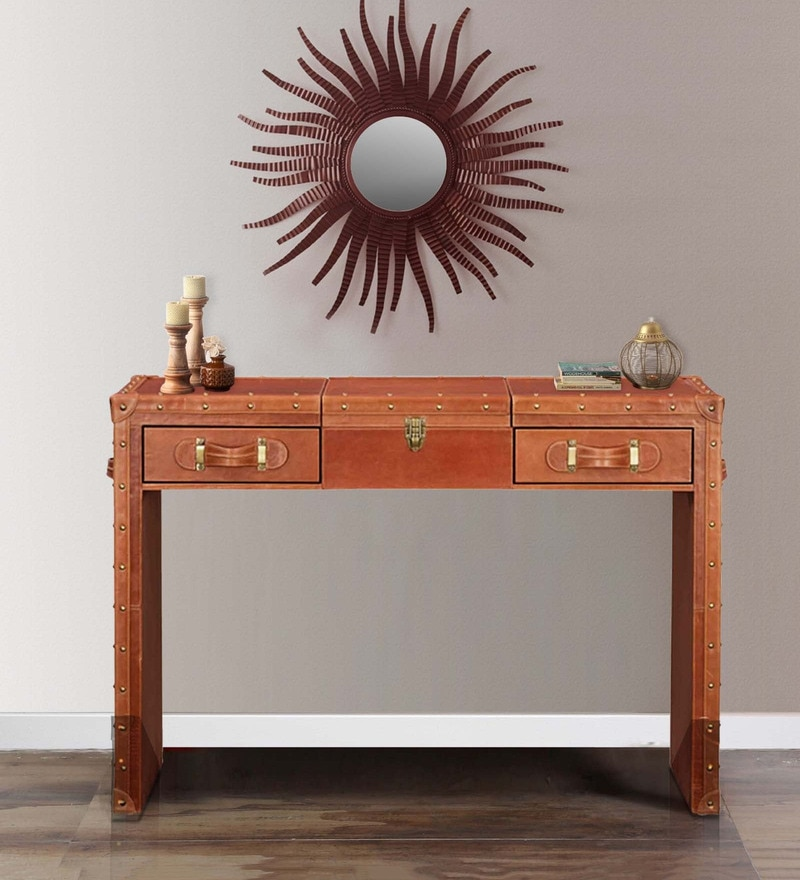 Vintage Vanity cum Console Table in Tan Brown Genuine Leather by Studio Ochre