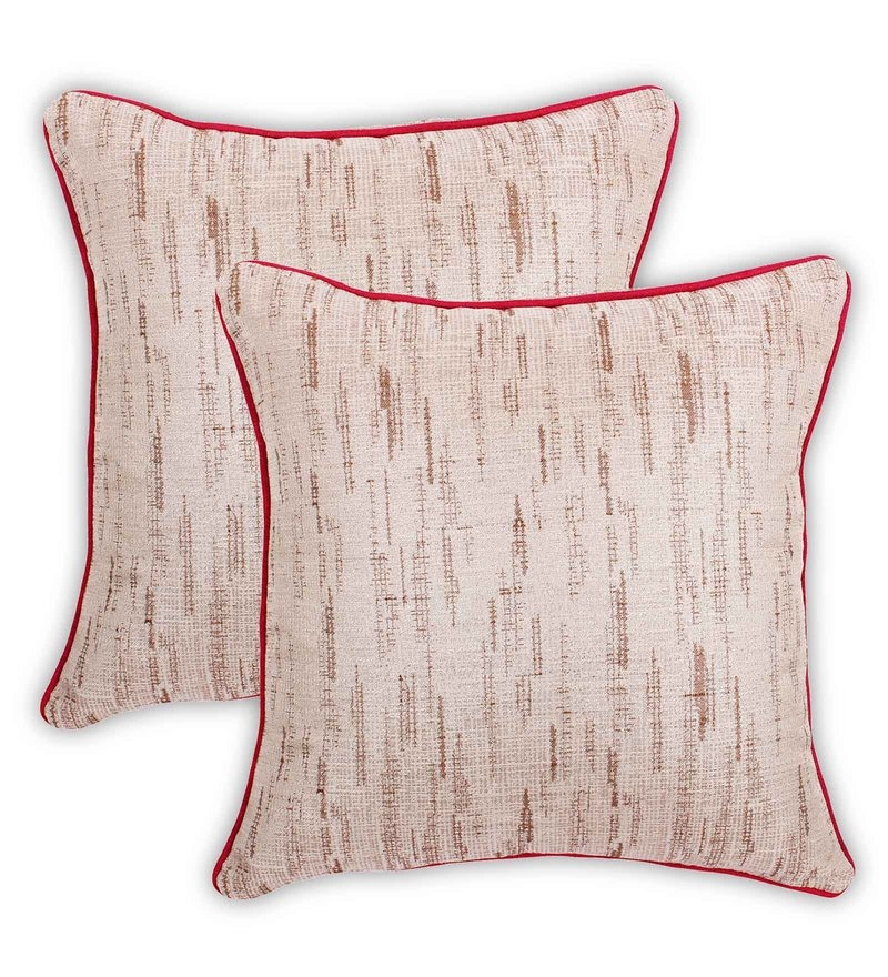 Beige Cotton 16 x 16 Inch Value Added Cushion Cover - Set Of 2 by Vista