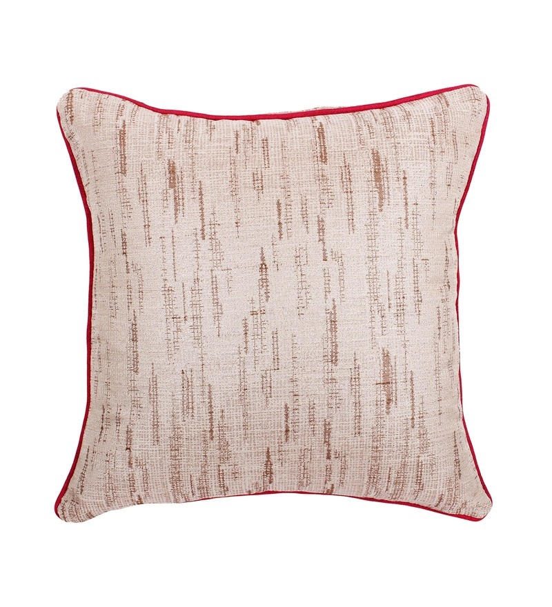 Beige Polyester 16 x 16 Inch Cushion Cover by Vista