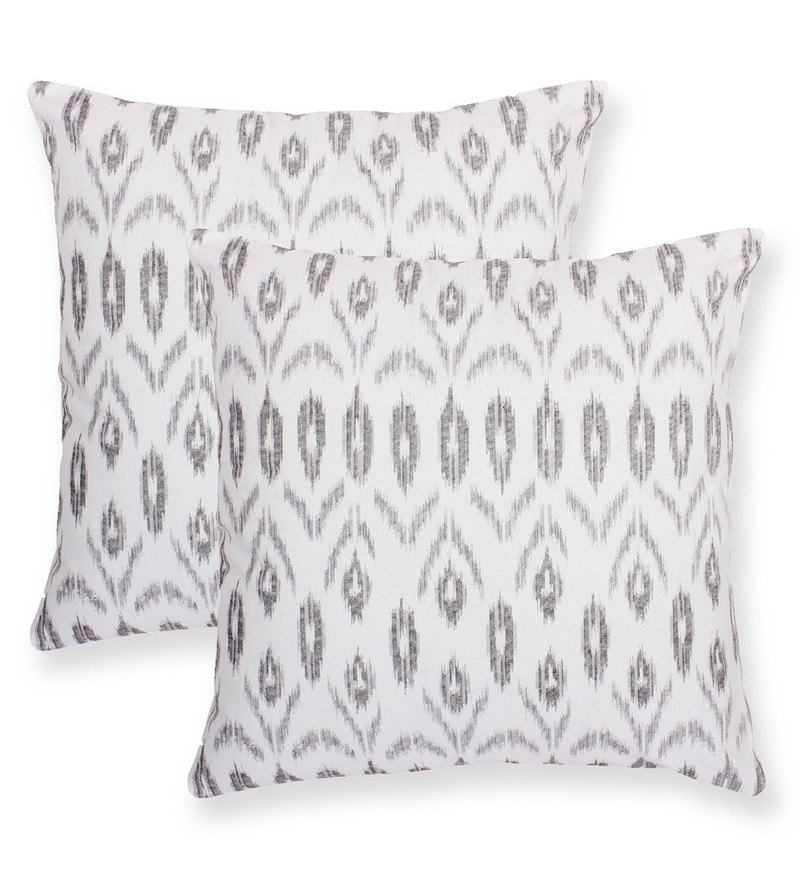 Grey Cotton 16 x 16 Inch Value Added Cushion Cover - Set Of 2 by Vista