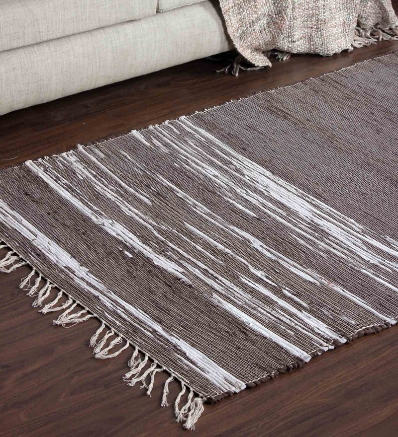 Brown Poly Cotton 39 x 60 Inch Area Rug by Vista Home Fashion