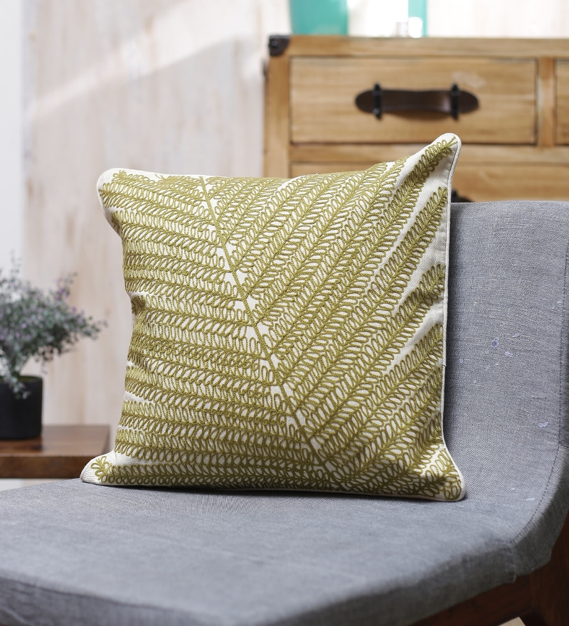 Green Cotton 18 x 18 Inch Olive Embroidered Cushion Cover by Vista Home Fashion