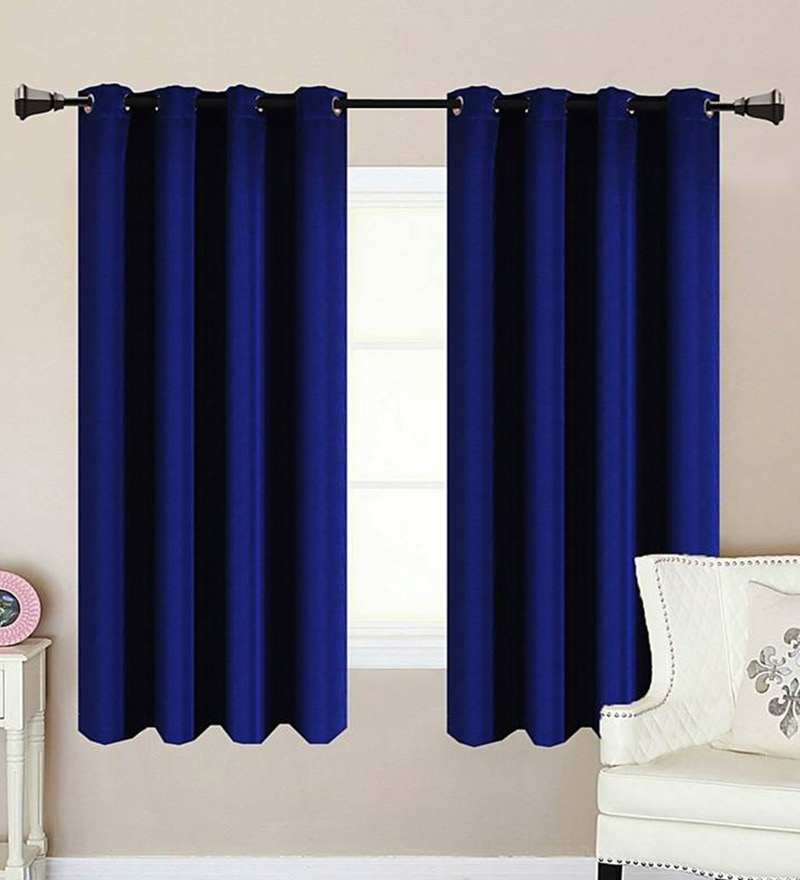 Navy Polycotton 53 x 63 Inch Best Quality Window Curtain - Set of 2 by Vista Home Fashion