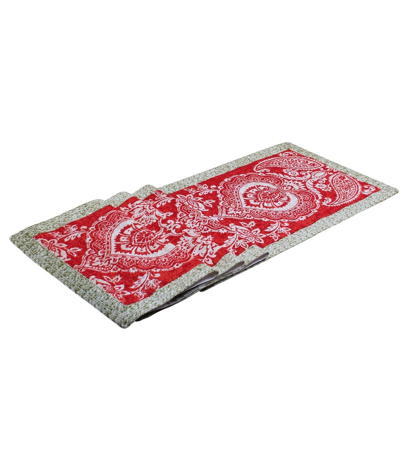 Vista Home Fashion Paisley Printed Red Super Quality Cotton Table Runner