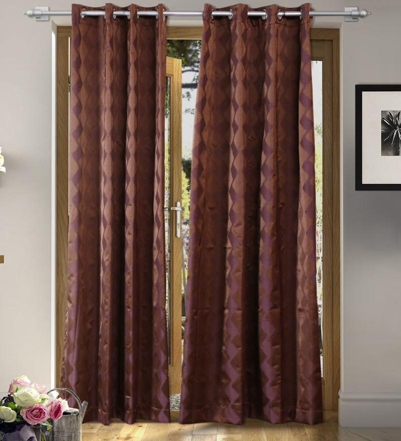 Brown Polyester 84 x 55 Inch Fashion Door Curtain - Set of 2 by Vista Home Fashion