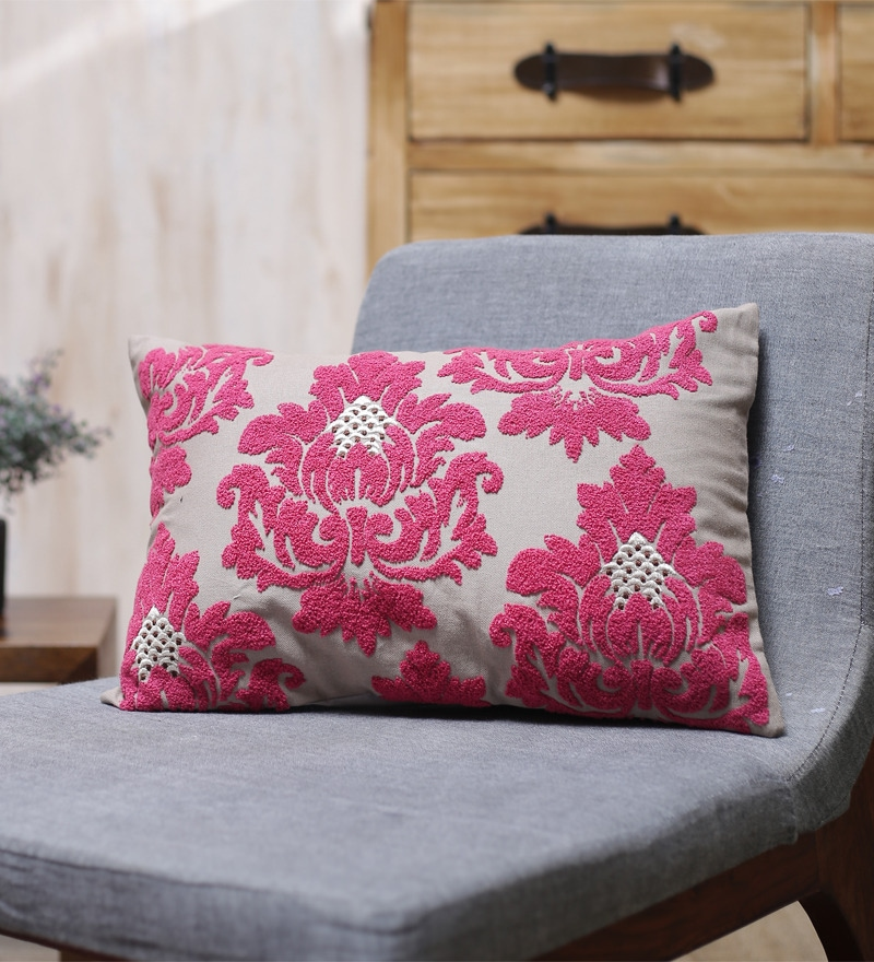 Red Cotton 20 x 14 Inch Cushion Cover by Vista Home Fashion