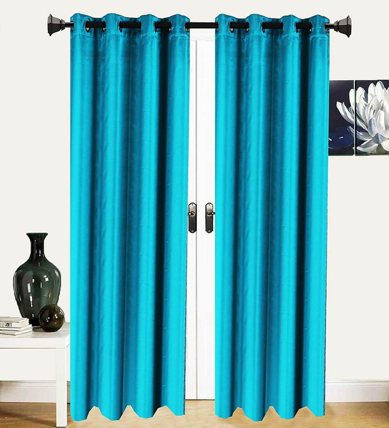 Teal Polycotton 53 x 88 Inch Best Quality Door Curtain - Set of 2 by Vista Home Fashion