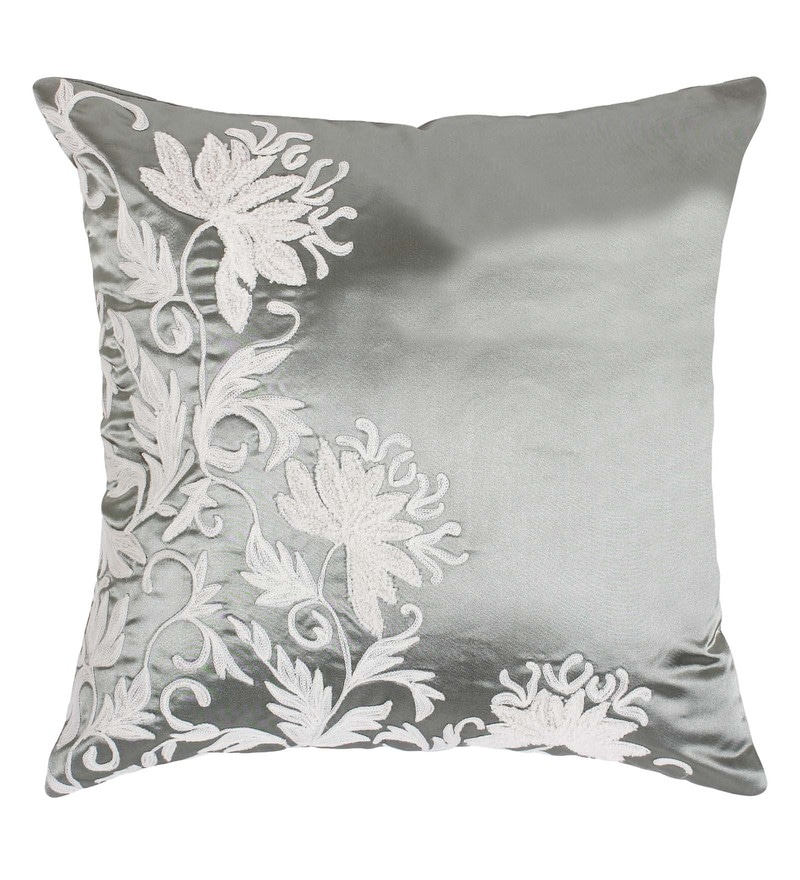 White Polyester 16 x 16 Inch Aari Embroided Cushion Cover by Vista Home Fashion