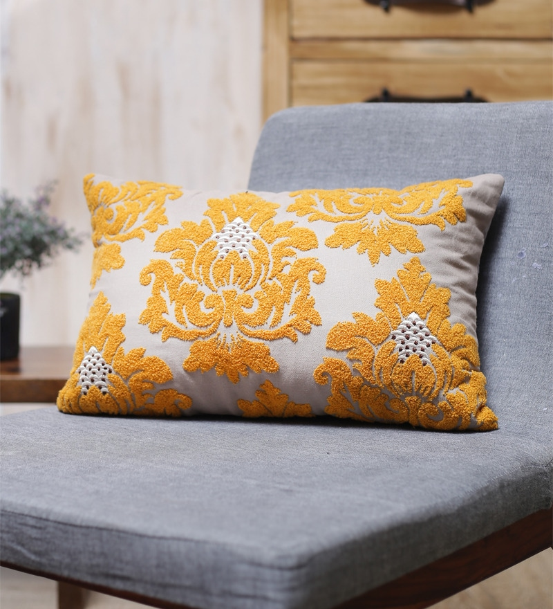 Yellow Cotton 20 x 14 Inch Cushion Cover by Vista Home Fashion