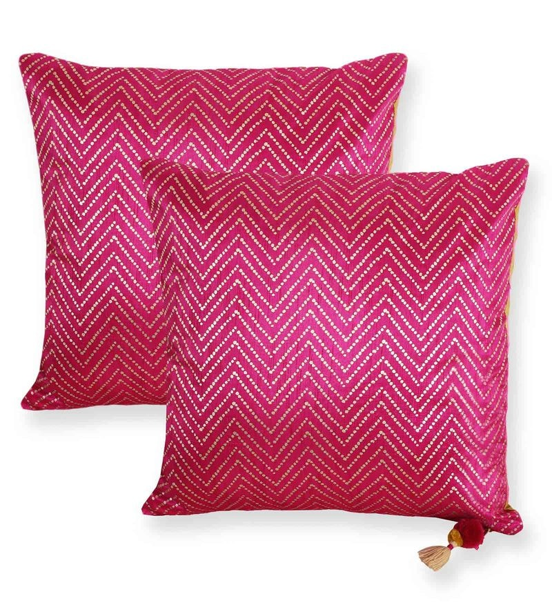 Pink Polyester 18 x 18 Inch With Zig Zag Stripe Cushion Cover - Set Of 2 by Vista