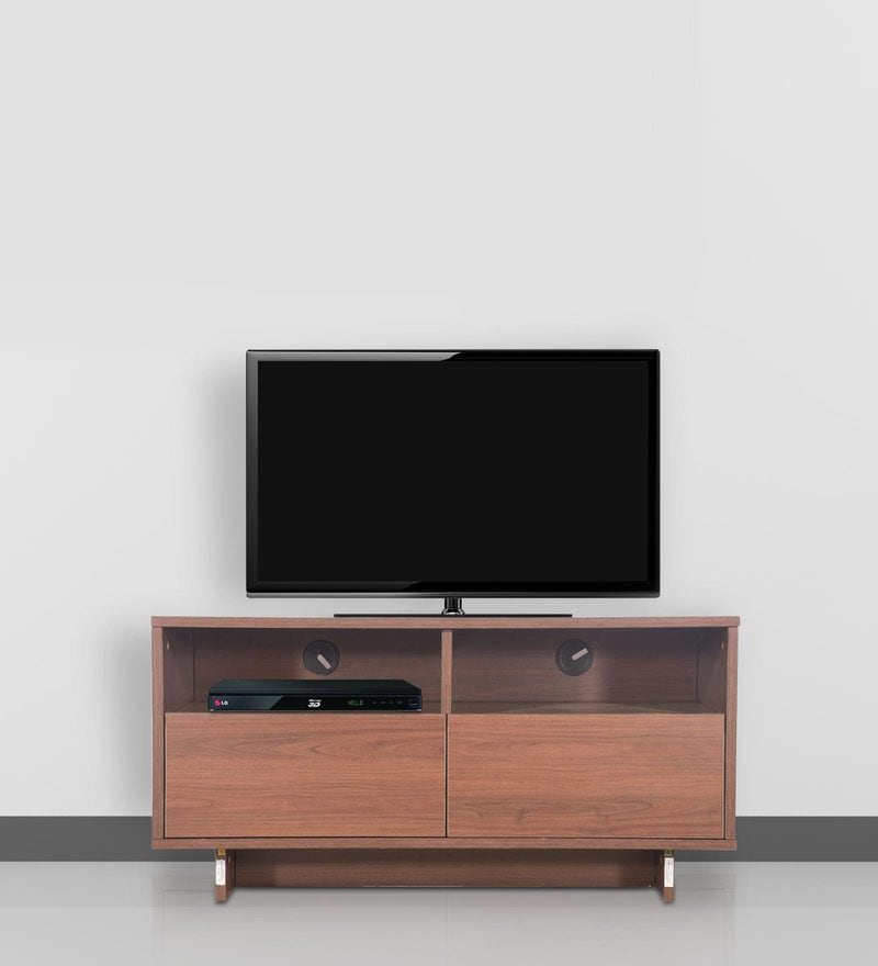 Buy Flute Media Wall Unit in White & Brown Finish by Godrej Interio ...