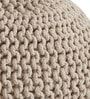 Victor Knitted Cotton Pouffe in Beige Colour by Purplewood