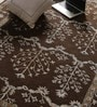 Brown Wool & Viscose 90 x 64 Inch Hand Tufted Carpet by Vikram Carpets