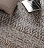 Grey Cotton & Jute 90 x 64 Inch Carpet by Vikram Carpets