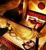 Alara King Size Poster Bed in Honey Oak Finish by Mudramark